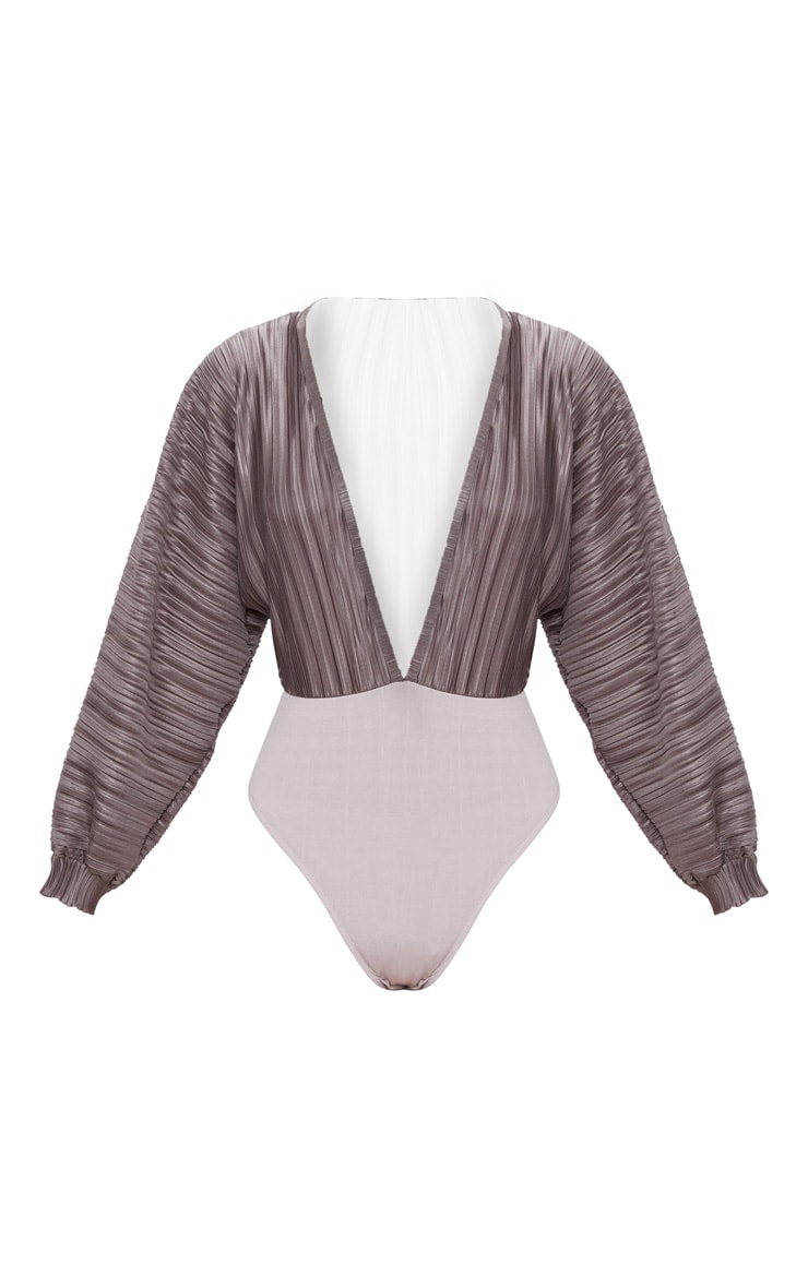 Grey Plisse Plunge Long Sleeve Thong Bodysuit  3