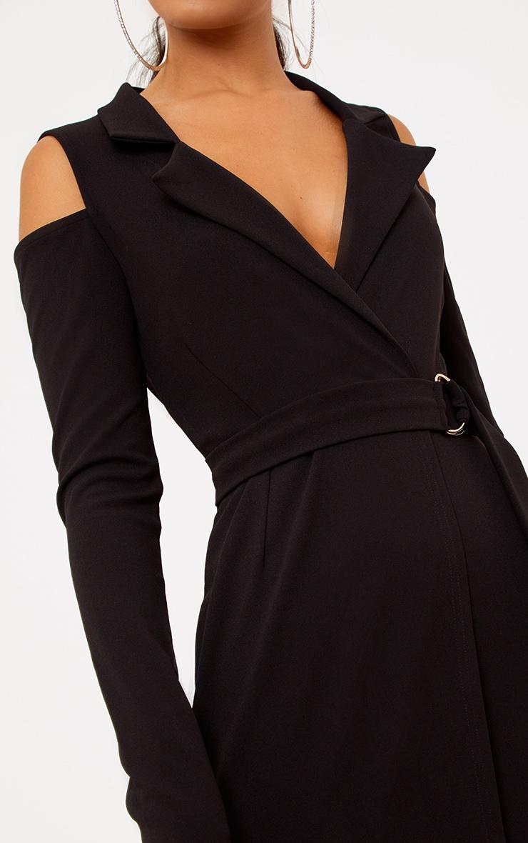 Black Cold Shoulder Blazer Dress 5