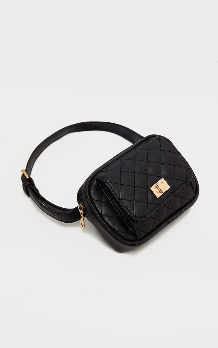 Black Quilted Pocket Front Bum Bag 3