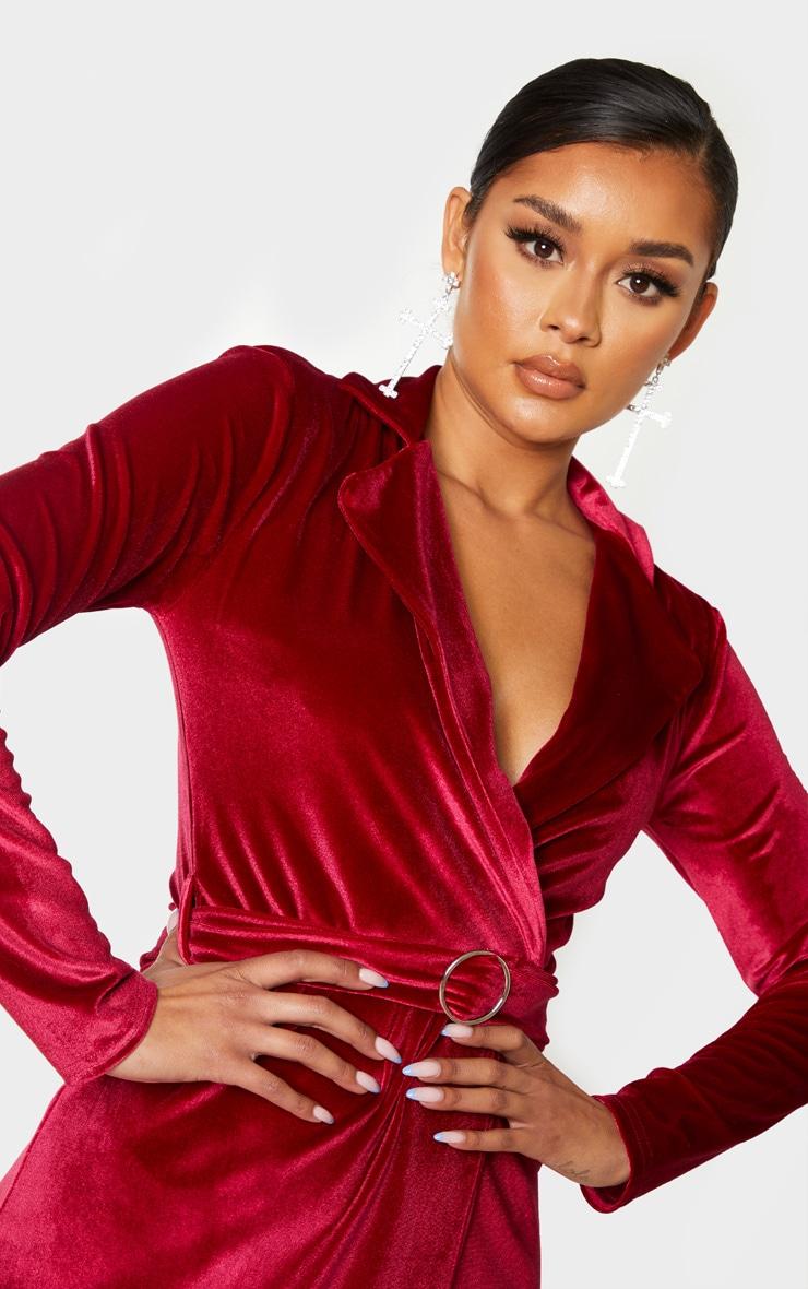 Burgundy Velvet Ring Belt Blazer Style Bodycon Dress 5