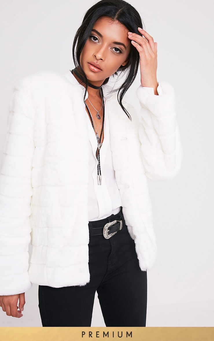 Milla White Faux Bubble Fur Jacket 1