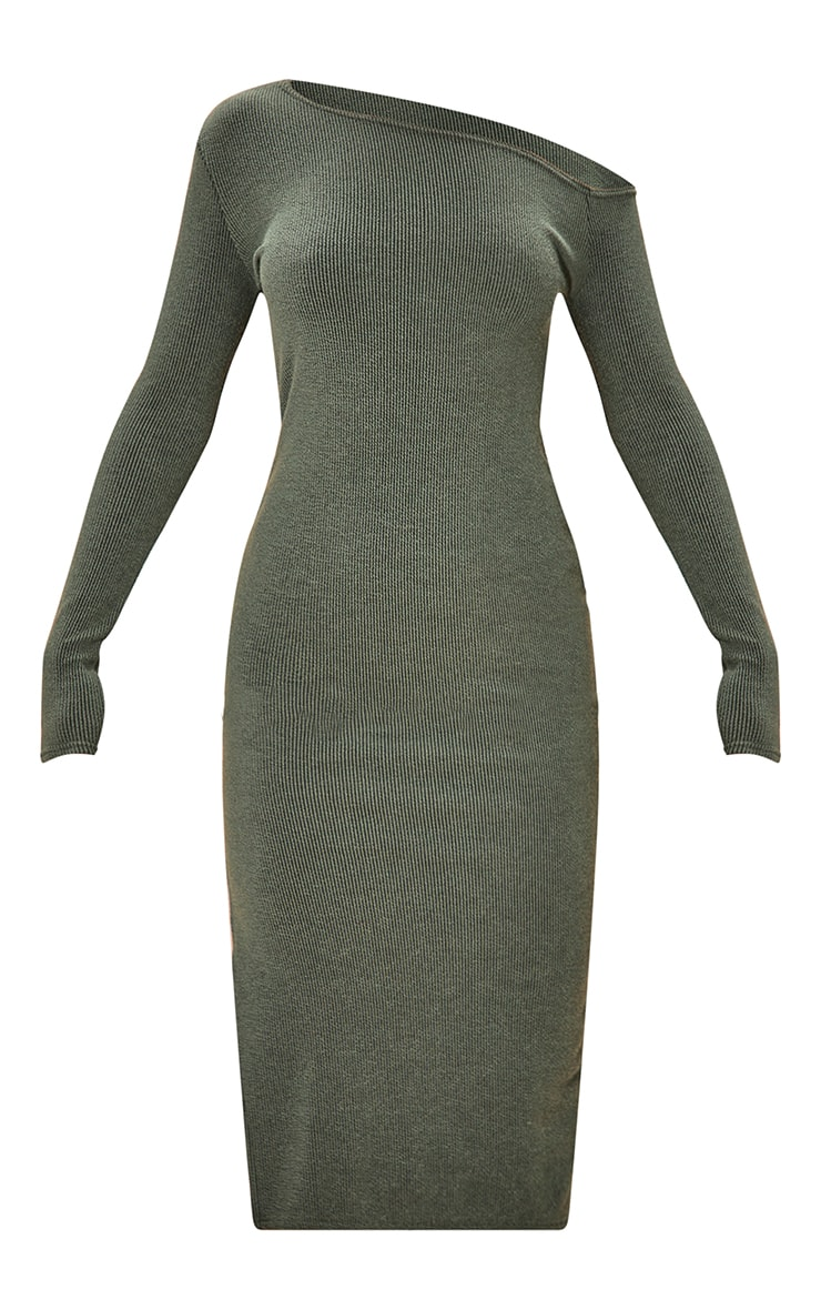 Khaki One Shoulder Split Side Rib Midaxi Dress 5