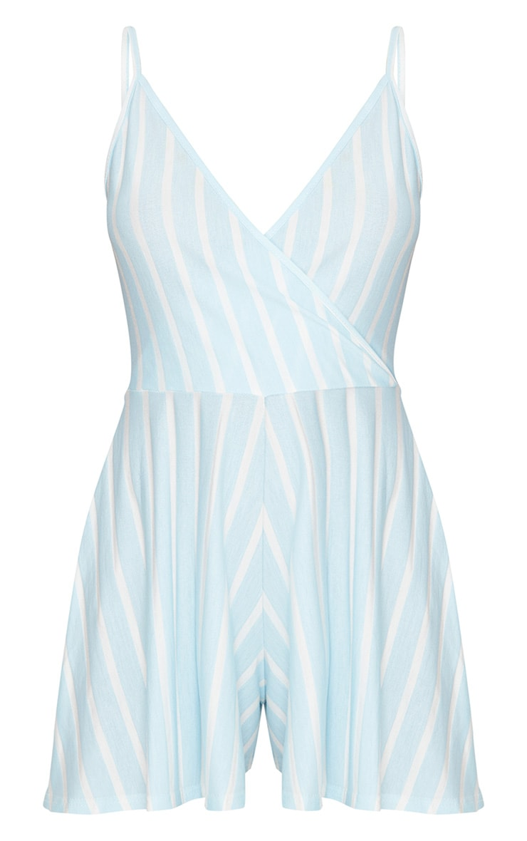 Blue Stripe Strappy Wrap Playsuit 3