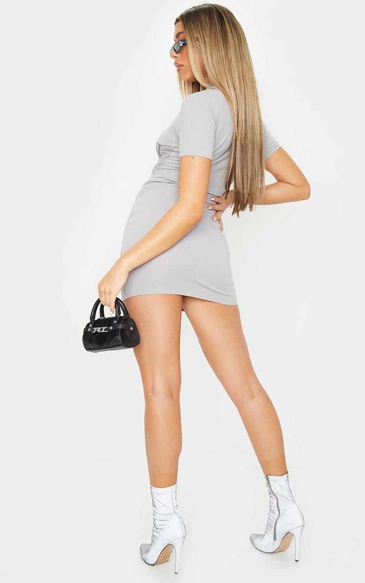 Grey Short Sleeve Seamless Knit Bodycon Dress 2