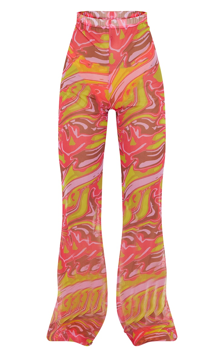 Petite Pink  Abstract Print Mesh High Waisted Flares 5