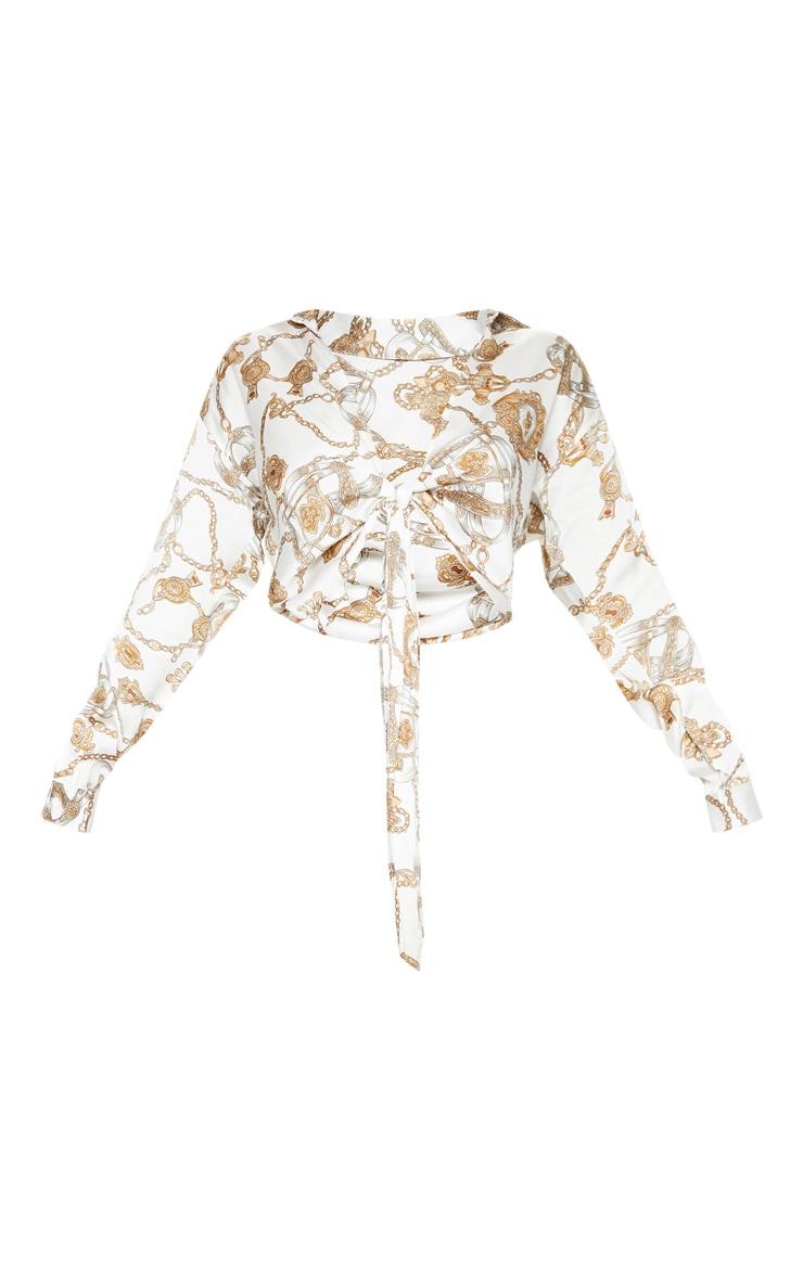 Multi Chain Print Tie Front Shirt 3