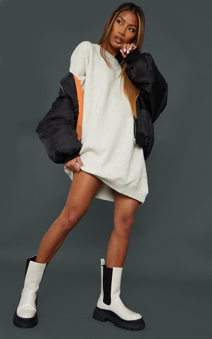 Oatmeal Drop Shoulder Oversized Sweat Jumper Dress 1
