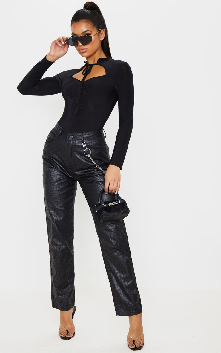 Black Slinky Cut Out Ruched Front Long Sleeve Bodysuit 5