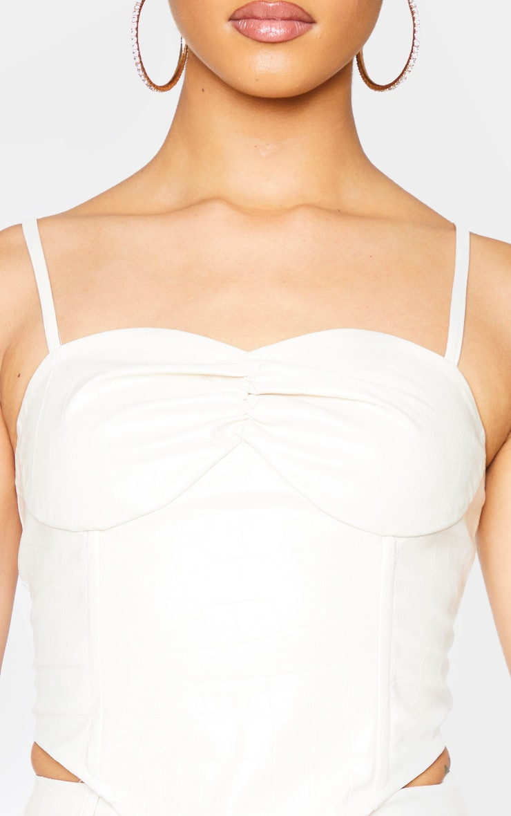 Cream Croc Print Faux Leather Cup Detail Strappy Corset Top 4