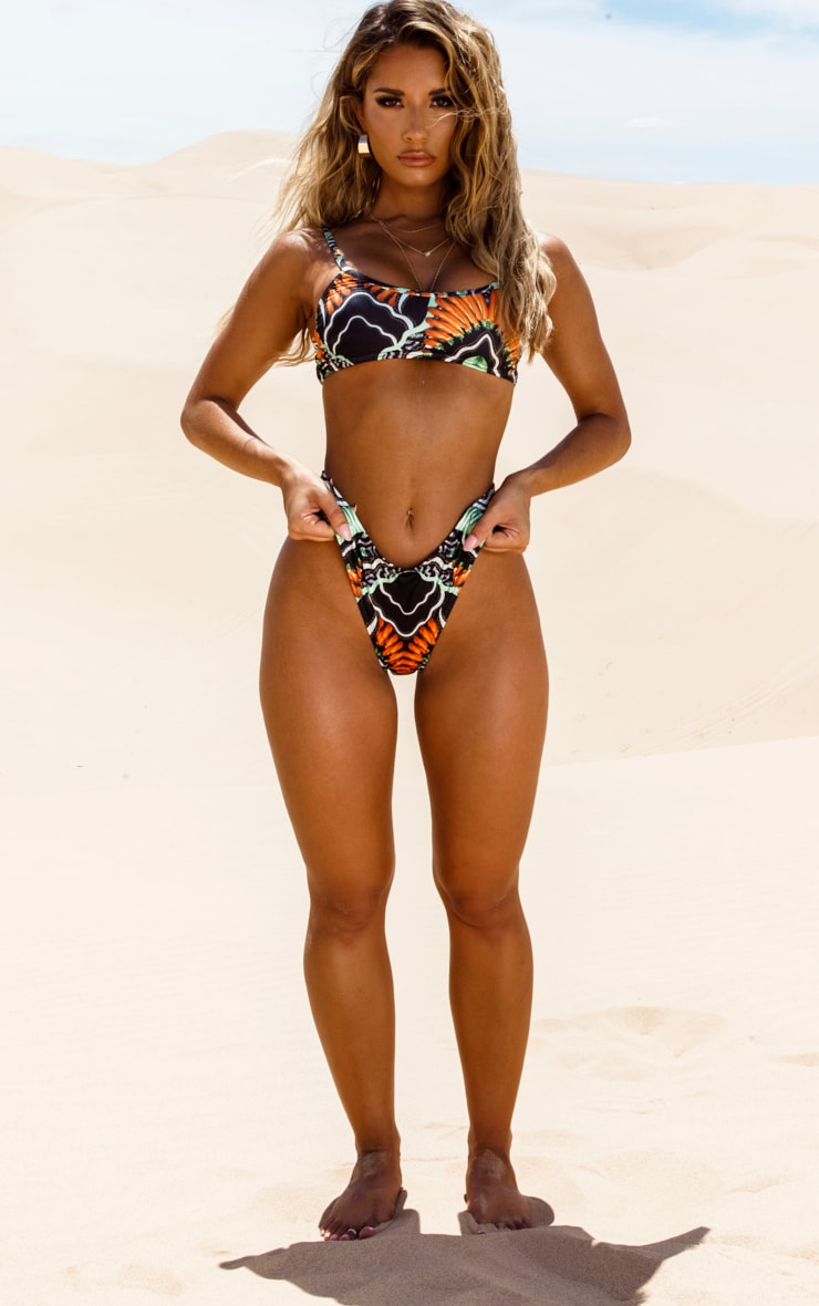 Black Tribal Print High Leg Bikini Bottom 5