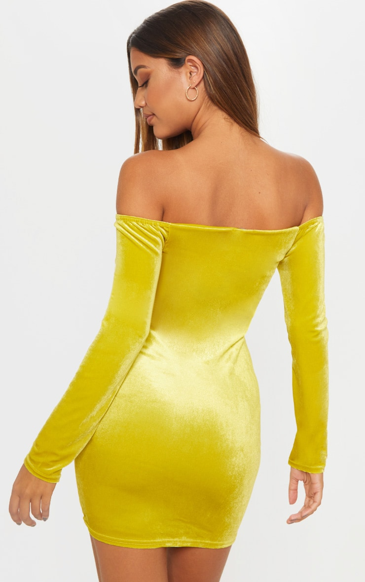 Chartreuse Velvet Bardot Long Sleeve Ruched Bodycon Dress 2