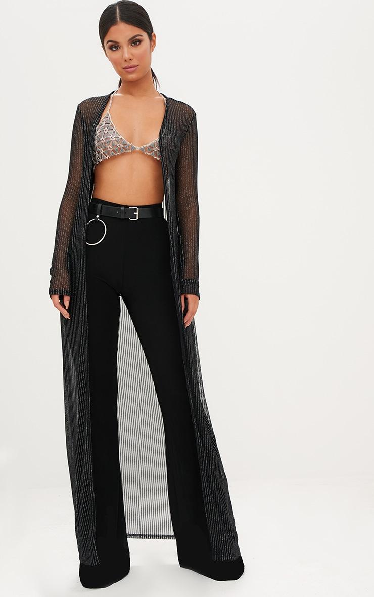 Black Metallic Stripe Sheer Kimono 1