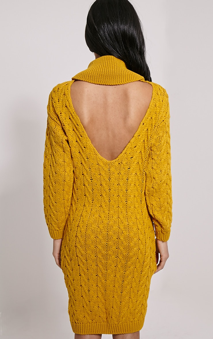Stormie Mustard Cable Knit Long Length Jumper Dress 2