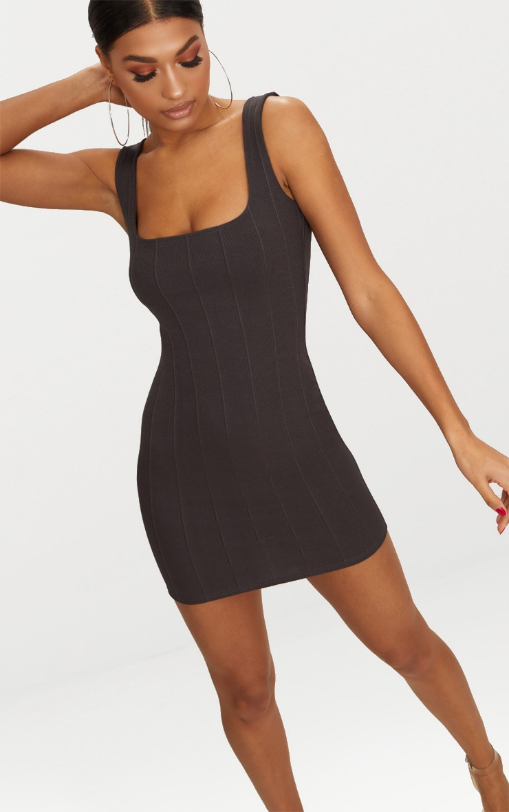 Charcoal Grey Bandage Square Neck Bodycon Dress