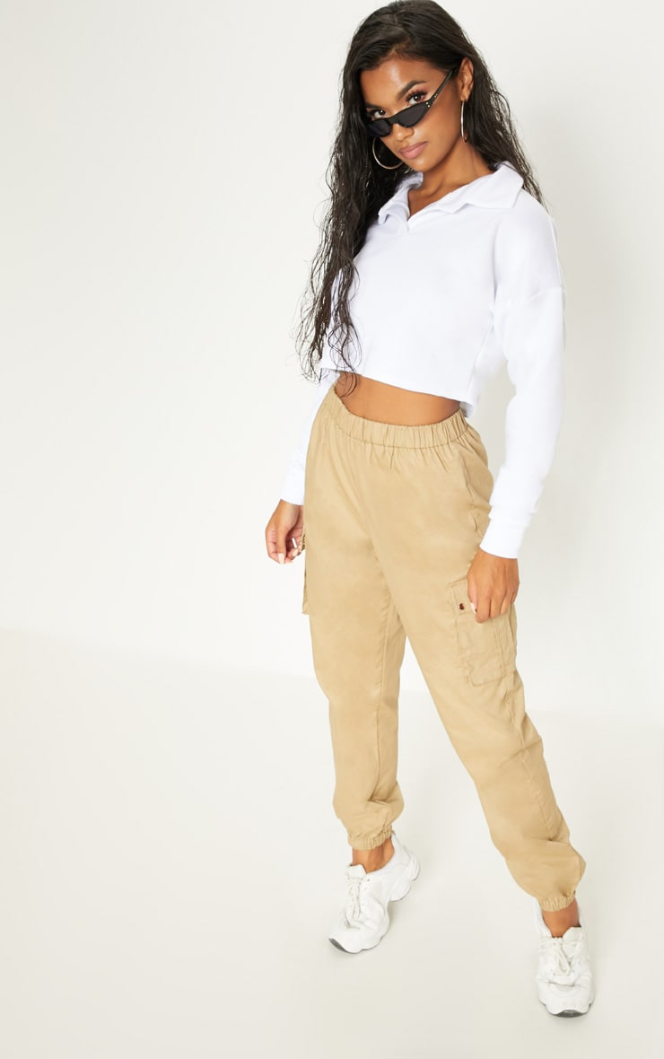 White Collar Polo Long Sleeve Crop Top 4