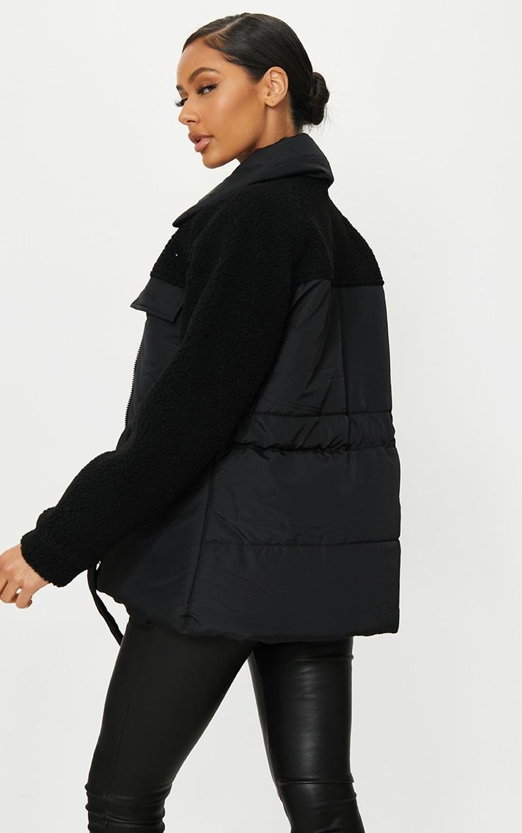 Black Nylon Contrast Borg Cinched Waist Puffer Jacket 2