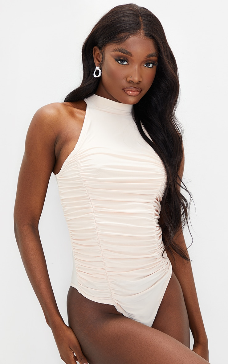 Tall Stone Ruched Soft Touch Slinky Bodysuit 2