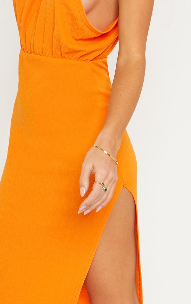 Bright Orange Halterneck Midi Dress 4