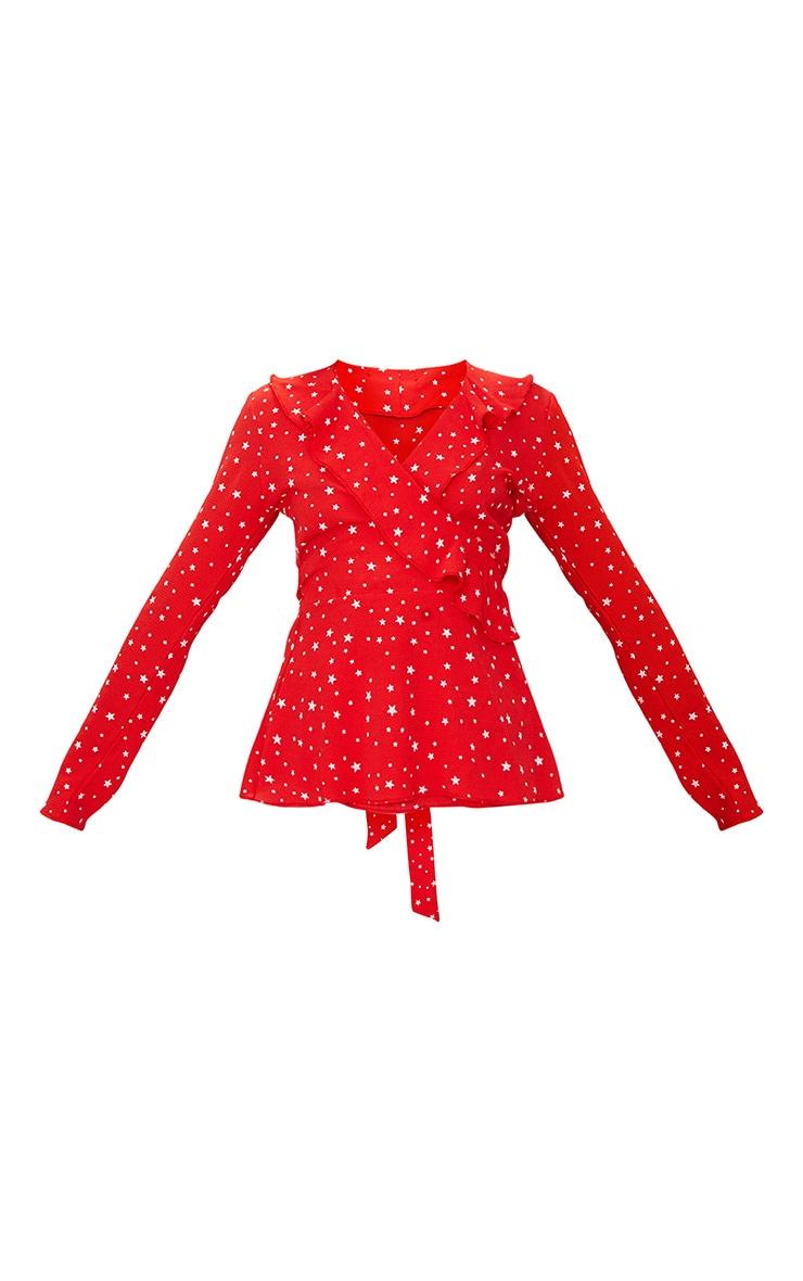 Red Chiffon Star Print Frill Detail Blouse  3