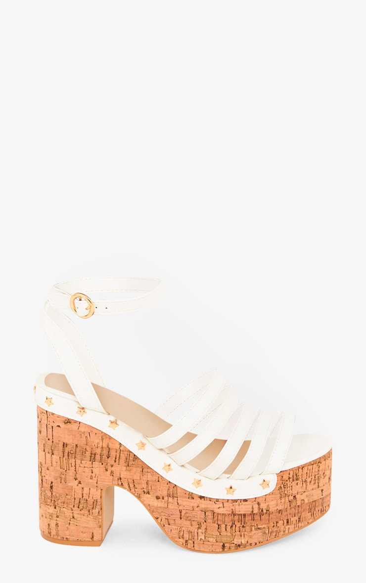 White Chunky Platform Sandals  3