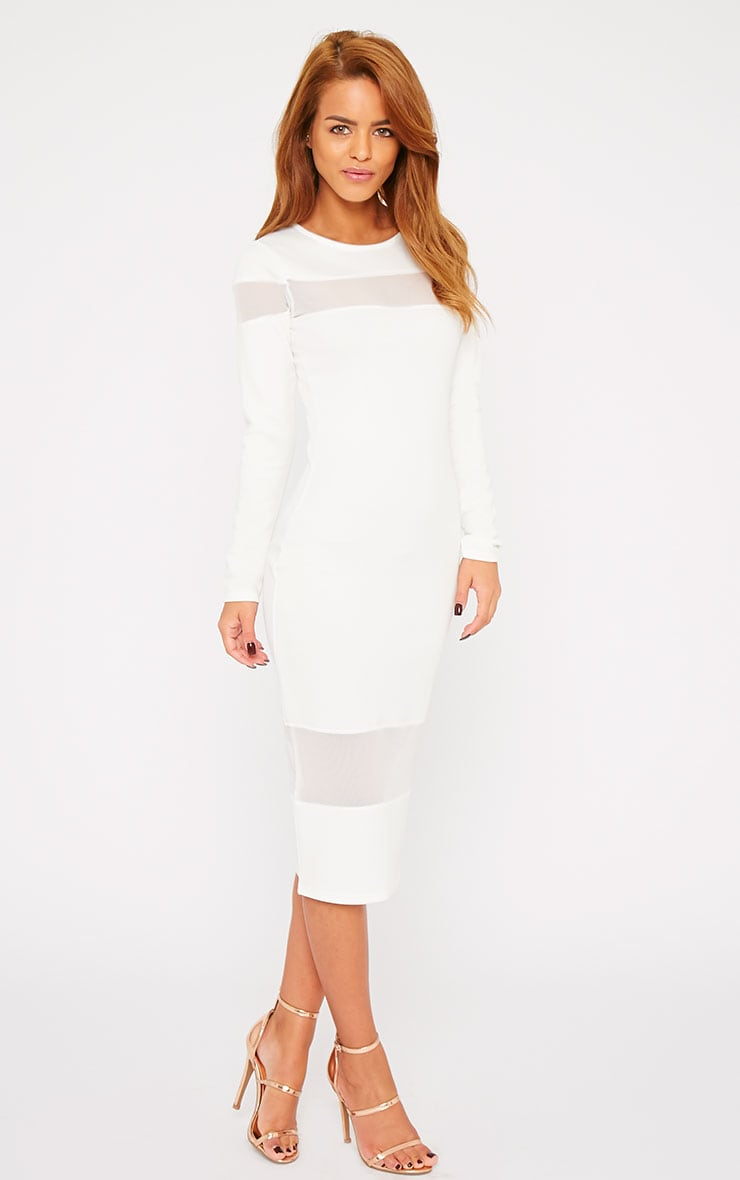 Justina White Mesh Insert Bodycon Midi Dress 1