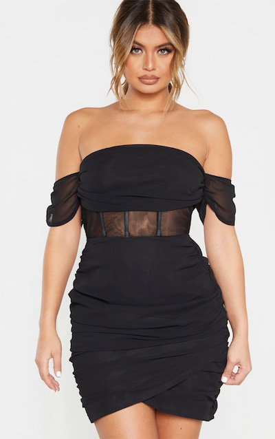 Black Chiffon Panel Insert Drape Bodycon Dress