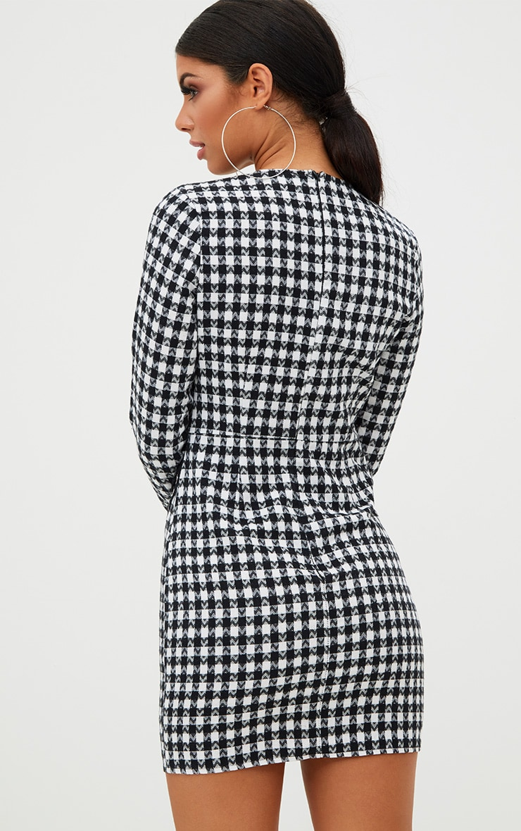Black Checked Lace Detail Bodycon Dress 2