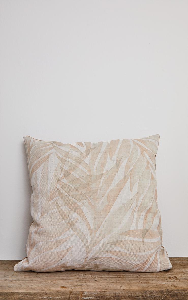 Linen Leaf Print Filled Cushion 1