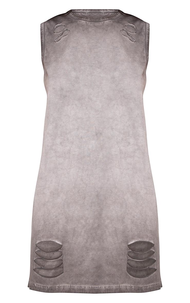 Grey Acid Wash Sleeveless T Shirt Dress 3