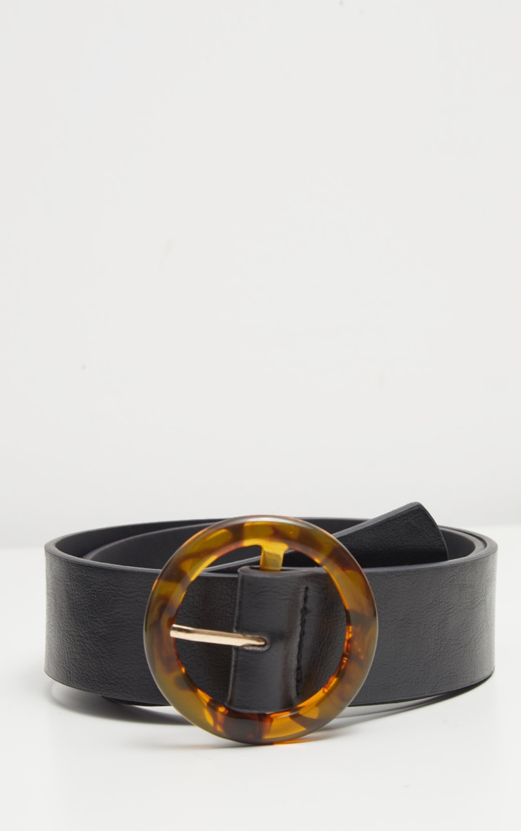 Black Round Tortoiseshell Buckle Belt 2