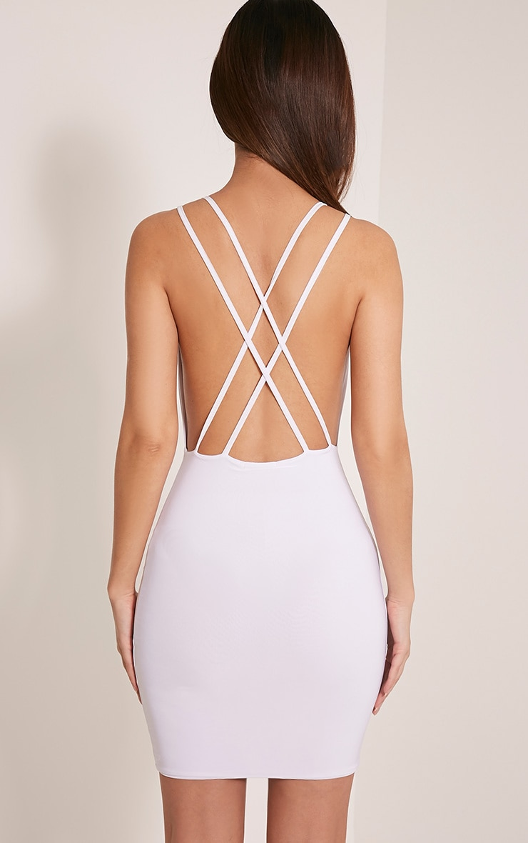 Dacey White Double Cross Back Bodycon Dress 2