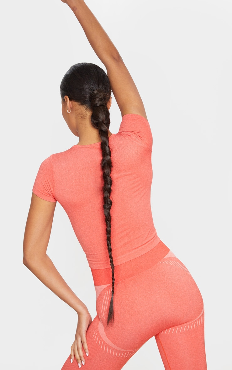 PRETTYLITTLETHING Coral Sport Seamless Contour T-Shirt 2