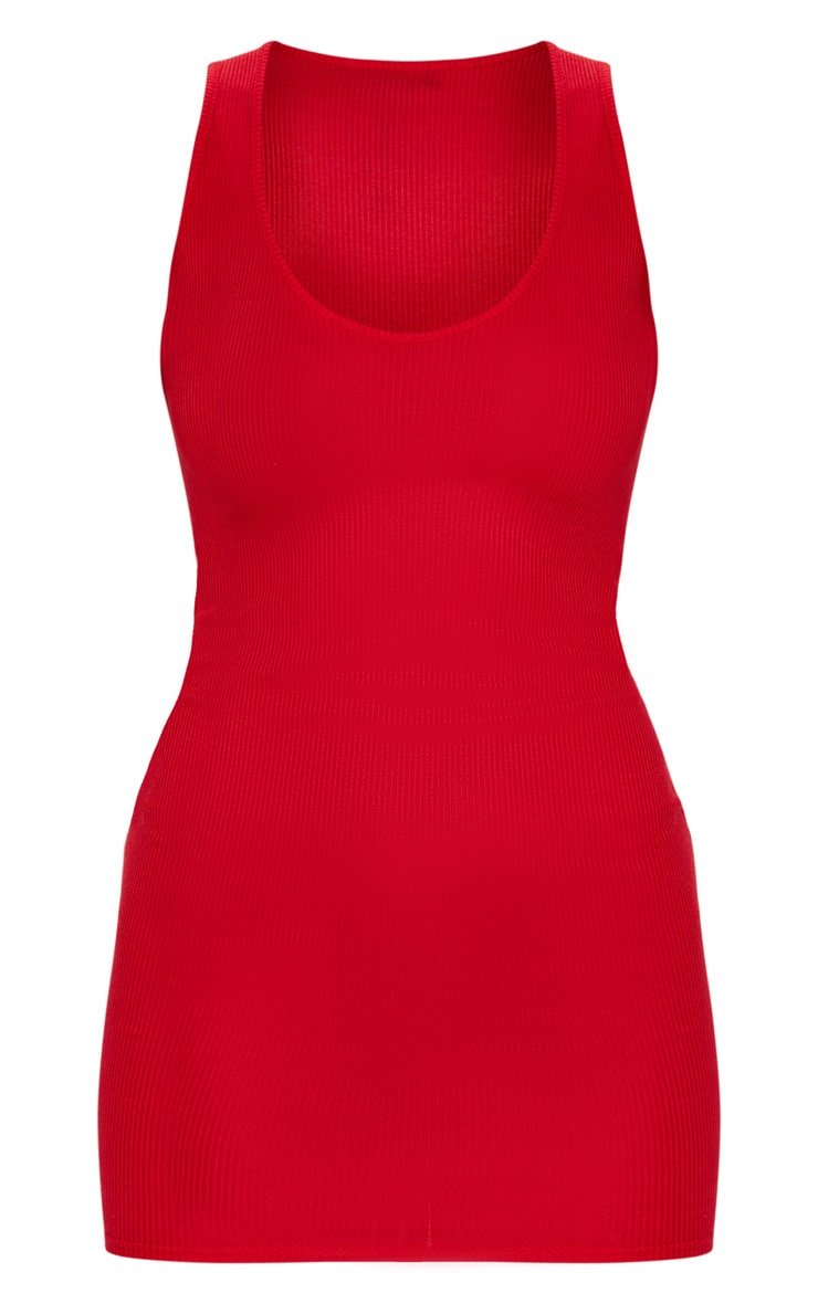 Red Ribbed Scoop Neck Bodycon Dress 5