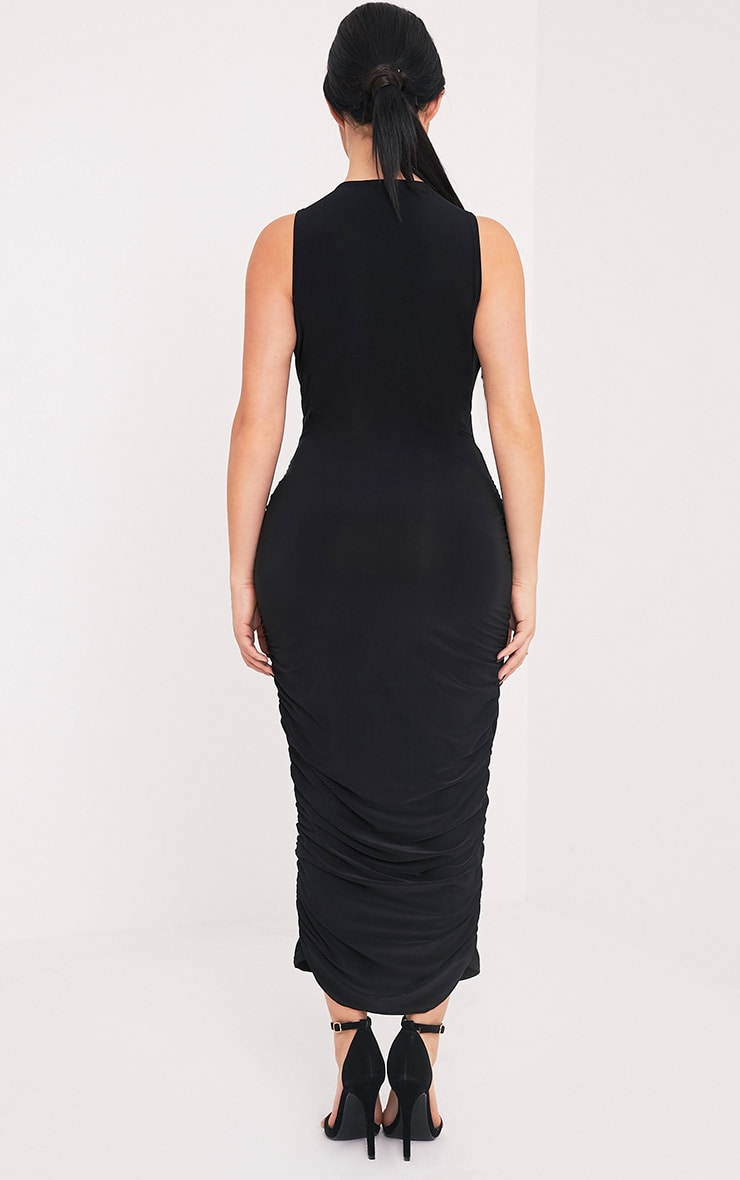 Shape Careen Black Ruched Cross Front Midi Dress  2