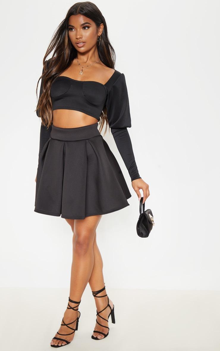 Black Scuba Skater Mini Skirt 5
