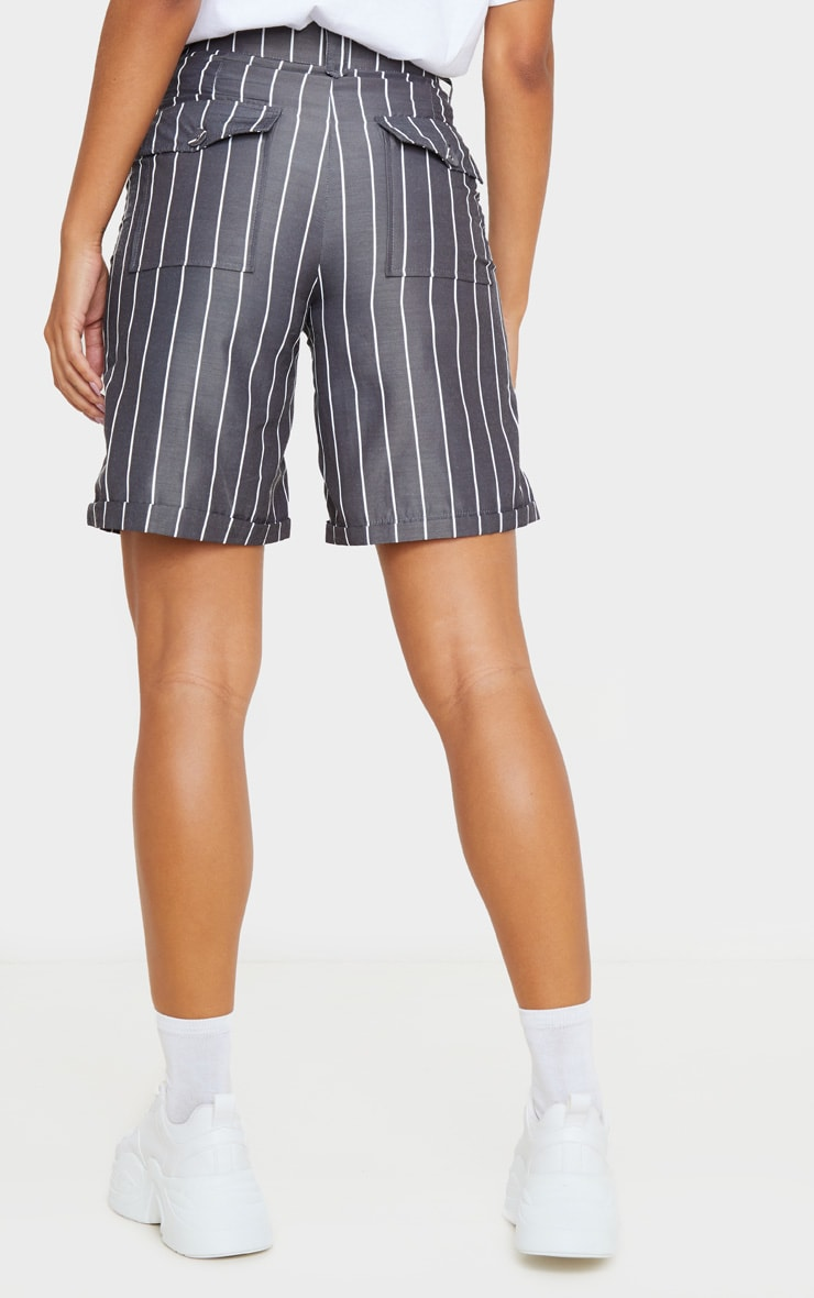 Black Pinstripe Longline Turn Up Hem Tailored Short 4