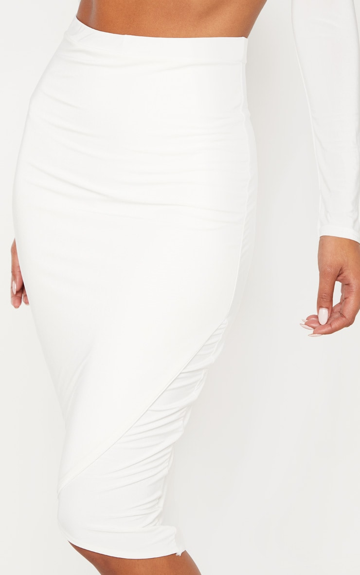 Cream Slinky Wrap Detail Midi Skirt 4