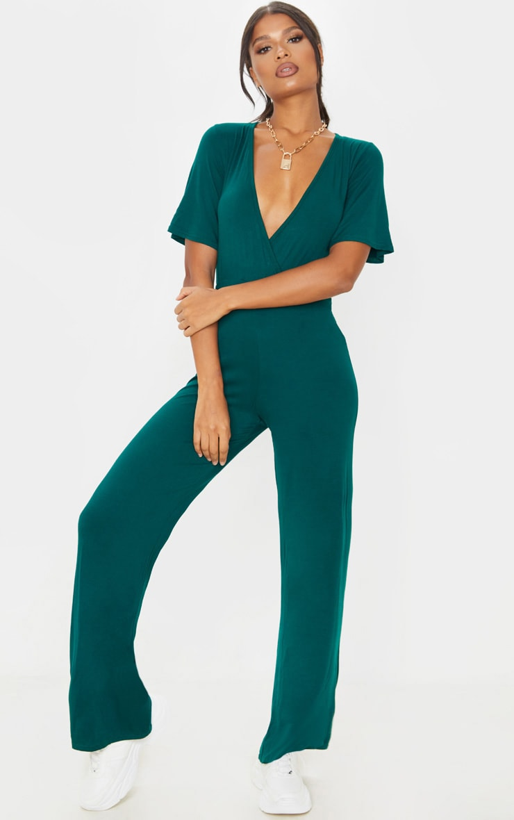Emerald Green Wrap Front Short Sleeve Jumpsuit 1