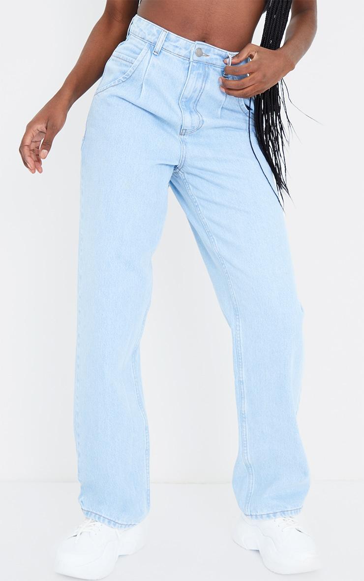 Tall Light Wash Seam Detail Wide Leg Jeans 2