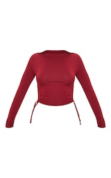 Scarlet Jersey Ruched Side Long Sleeve Crop Top 3
