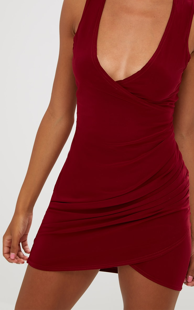 Petite Burgundy Choker Ruched Bodycon Dress 5