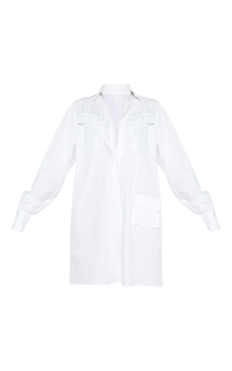 Tall White Oversized Utility Shirt Dress 3