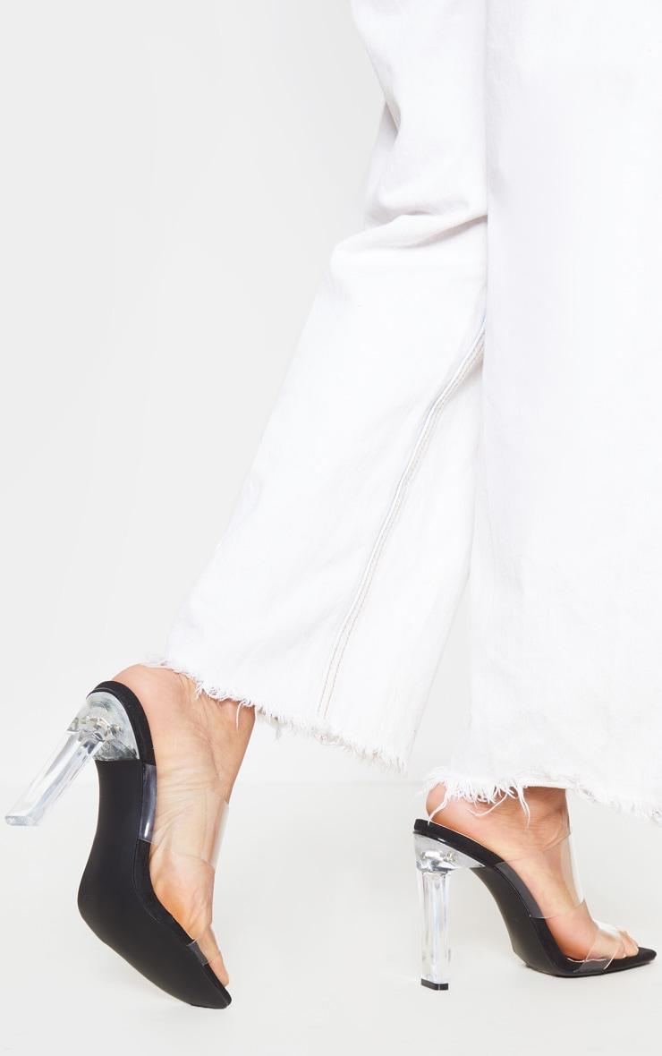 Black Clear Heel Twin Strap Clear Mule 2