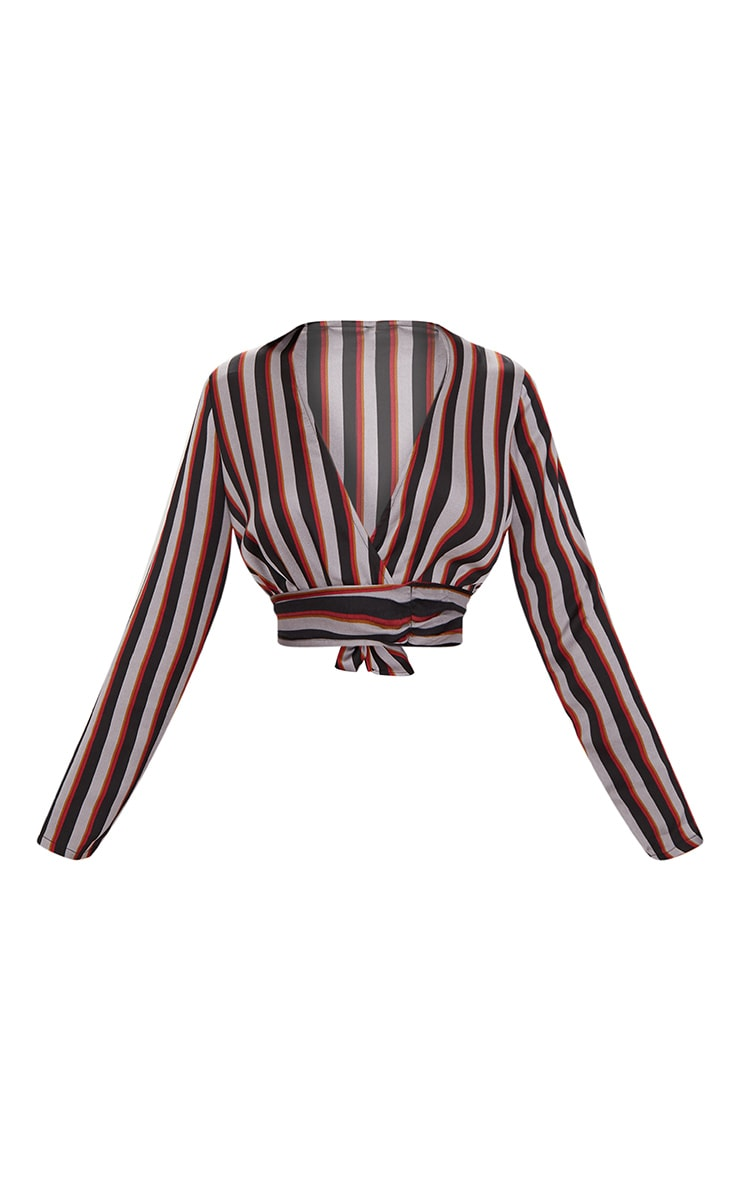 Grey Long Sleeve Tie Wrap Stripe Blouse 3