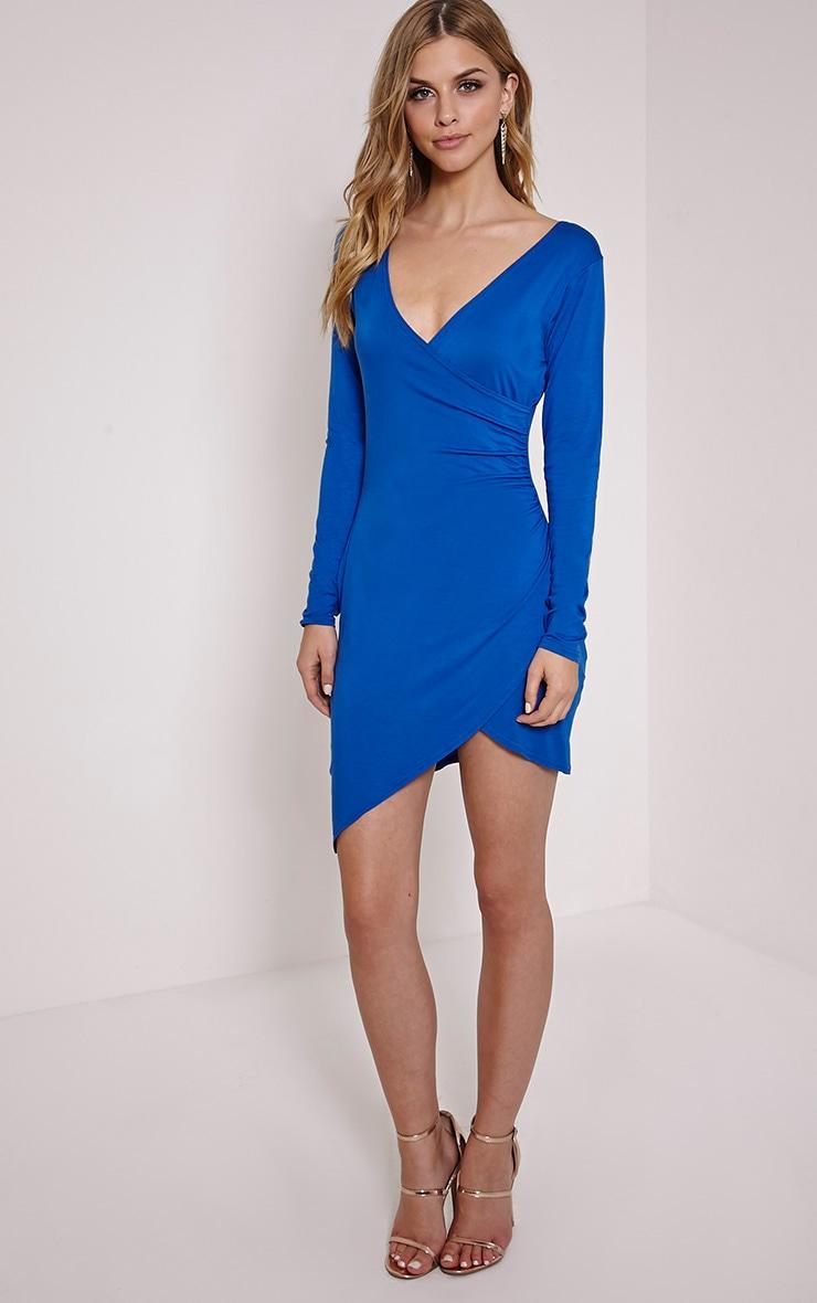 Kendi Cobalt Wrap Mini Dress 3