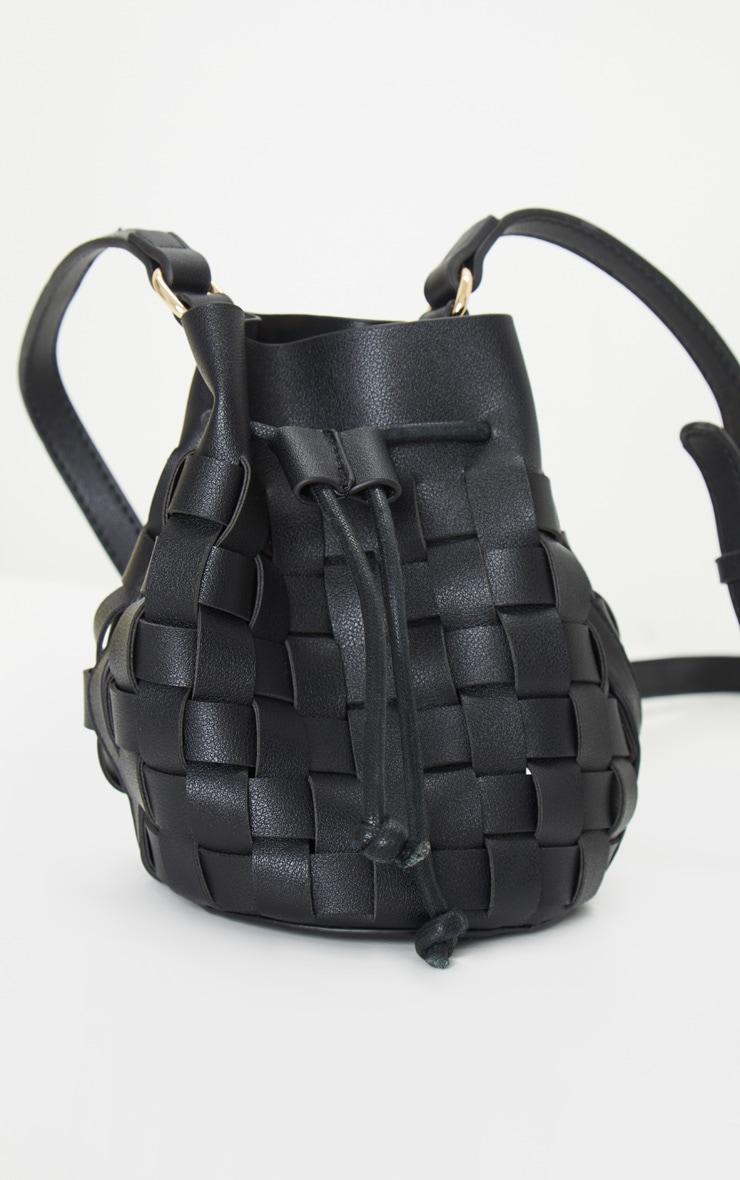 Black Weave Cross Body Bag 1