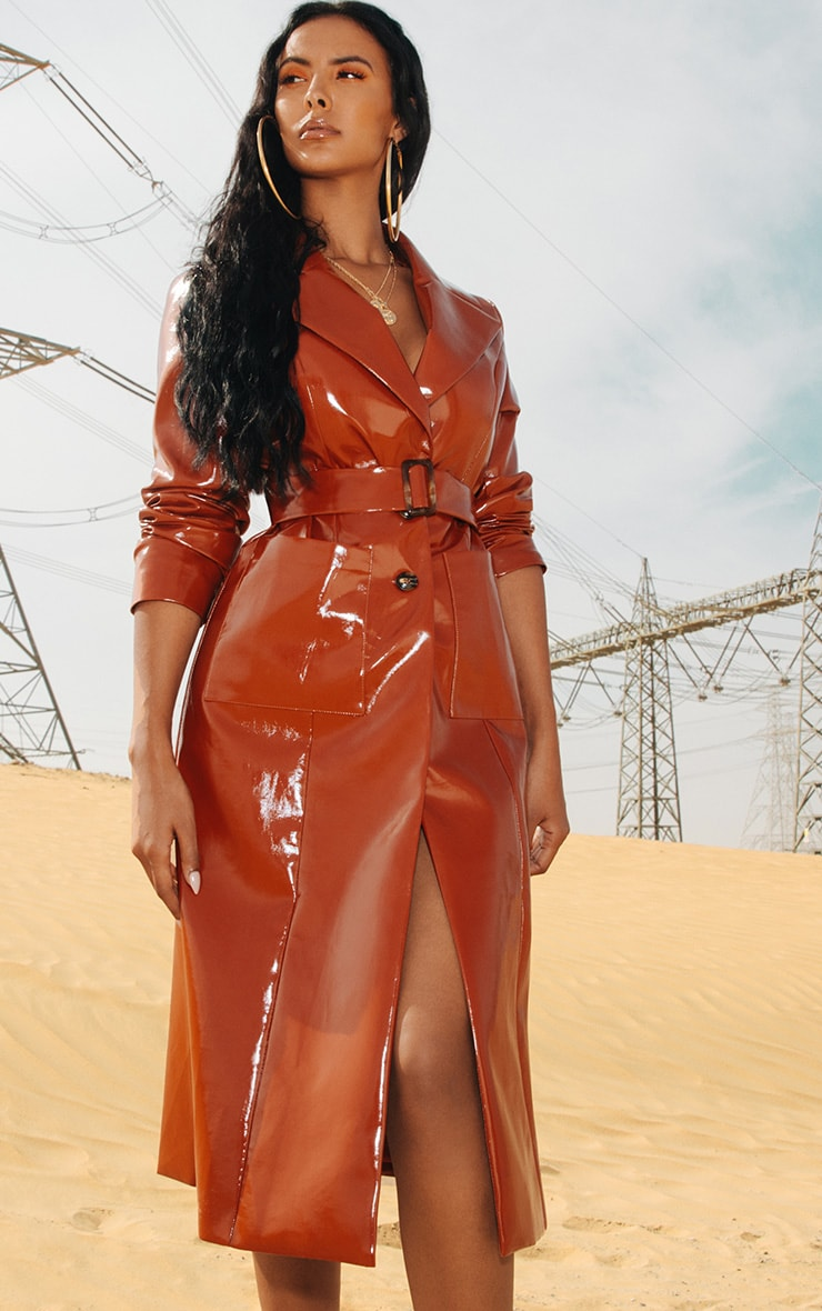 Toffee Vinyl Trench Coat 1