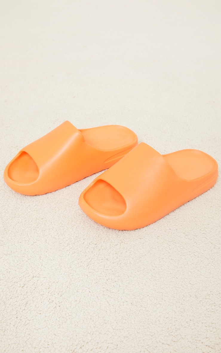 Orange Rubber Ribbed Sole Sliders 3