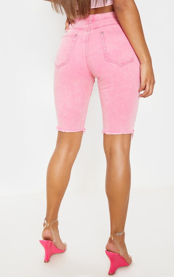 Acid  Pale Pink 3/4 Skinny Denim Shorts 4