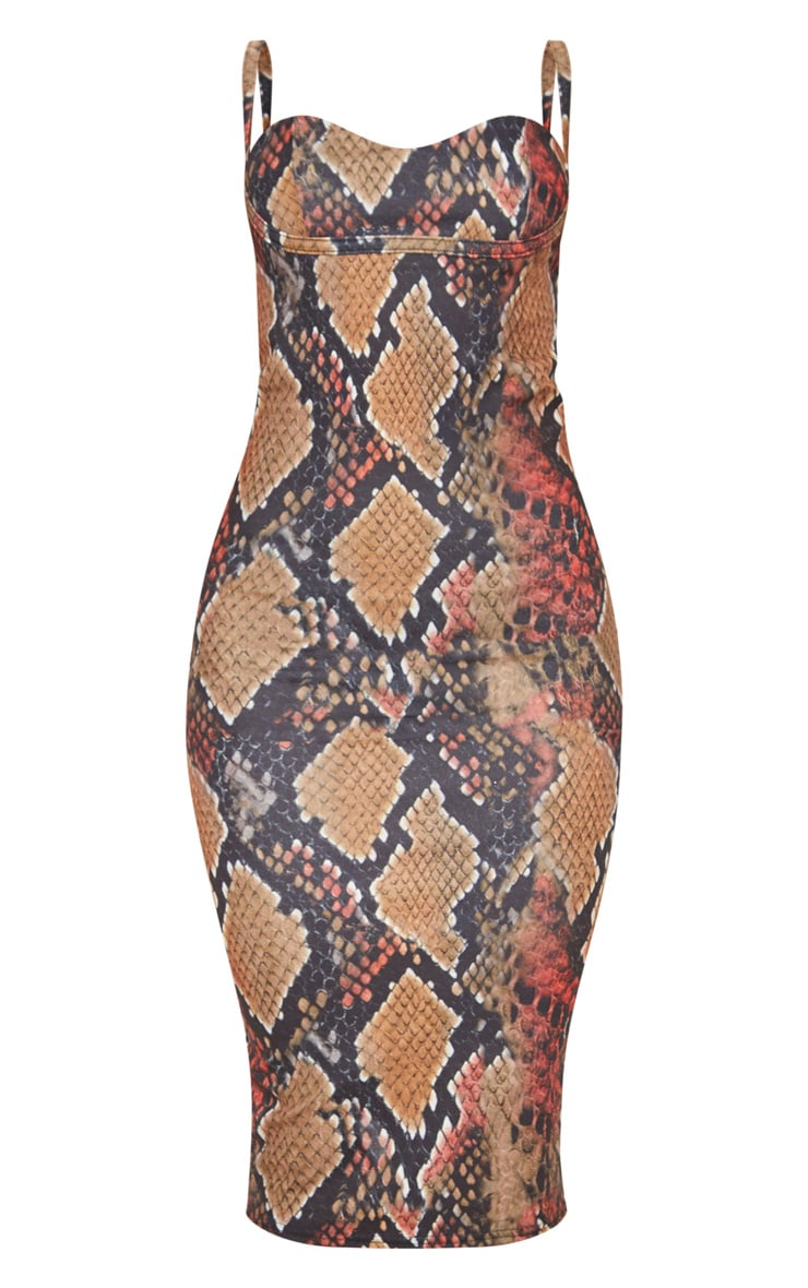 Multi Snake Print Strappy Cup Detail Midi Dress 3